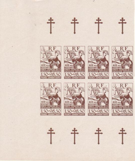 """Timbre """"Aide aux résistants"""" émission du CFLN 1943 945238bv000101"""