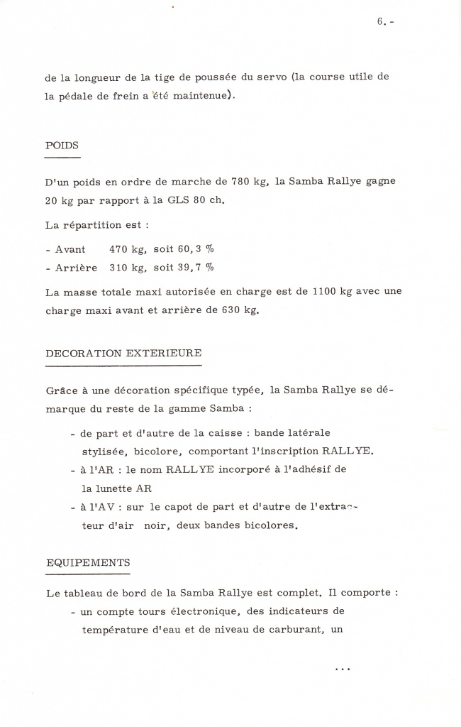 Dossier de presse Talbot Samba Rallye (septembre 1982) 950244a0009