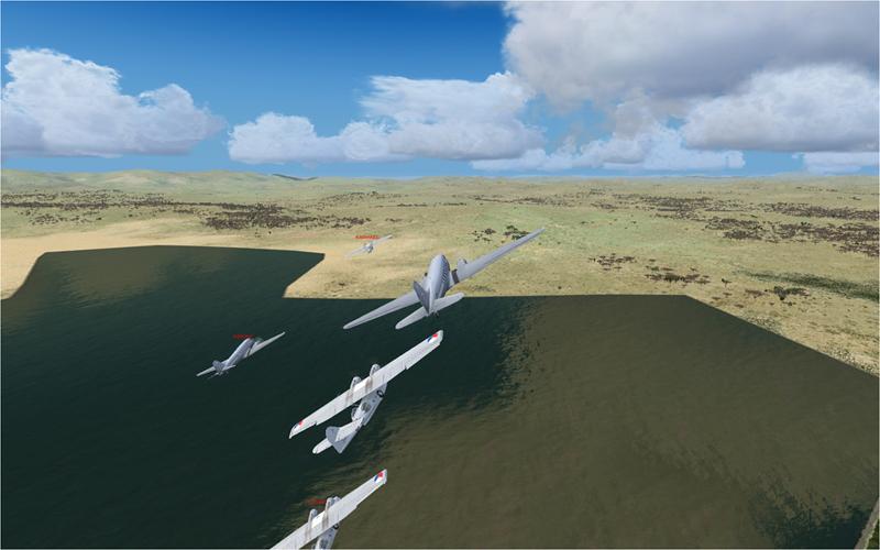 Vol en formation en Afrique (DC3) 9712452013222221239923