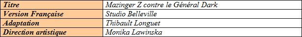 Collection des films Mazinger (2) : Mazinger Z contre le Général Dark 980436zdarkfichetechniquevf