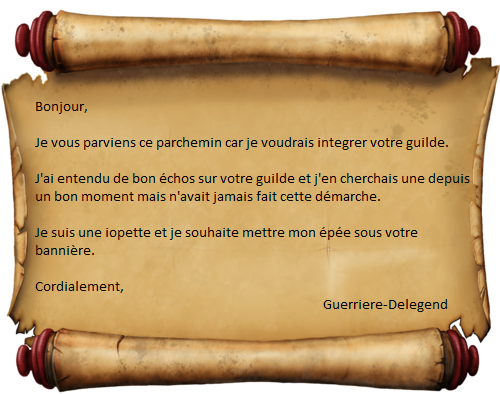 Candidature Guerriere-Delegend 995121Parchemin