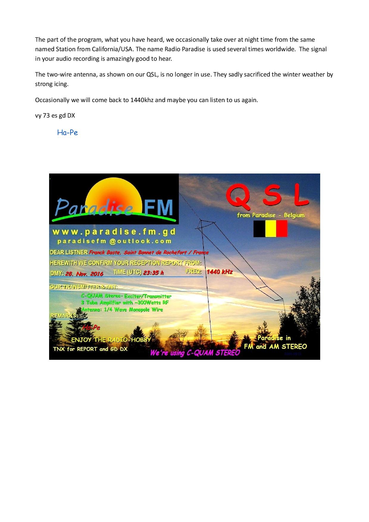 Radio Paradise 1440kHz 125490QSLFranckBastepage002