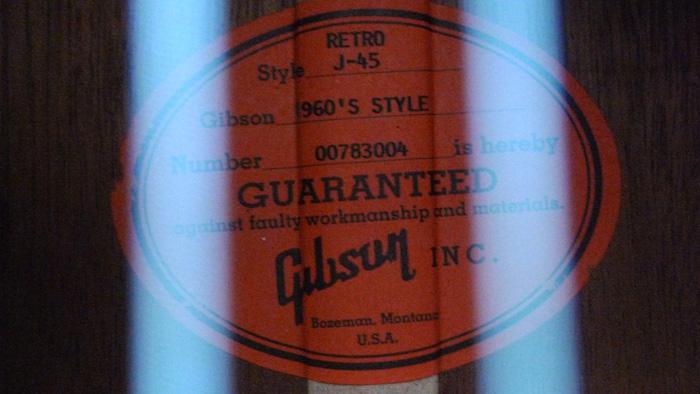 RARE : vds Gibson J-45 wine red +fishman Ellipse 2003 218239Etiquette