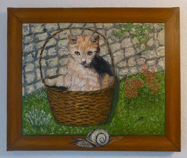 Le chat et l'escargot. (Peinture à l'huile) 224451Lechatetlescargot600