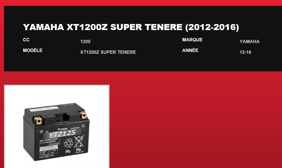 Batterie 1200 XTZ 238772xtz12