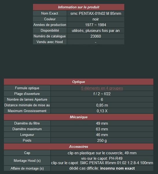 smc Pentax M 85mm f2 27519985mmf2
