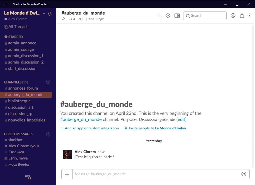 Slack - La ChatBox du forum : guide   446040Aubergestarred