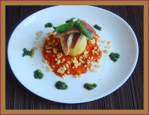 Rouget juste snacké, crumble tomates ....+ photo 506857Rougetjustesnackcrumbletomatesparmesanetpommebouchon001