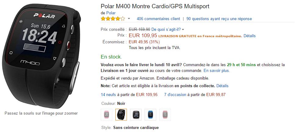 M400 : Offre spéciale Amazon 513357polarM400amazon