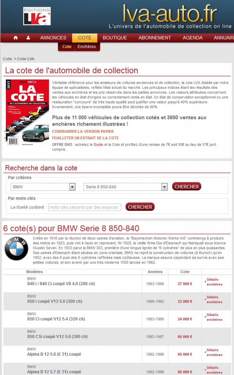 """BMW E31 """"cote"""" bon  à savoir  5441592017033122h5858"""