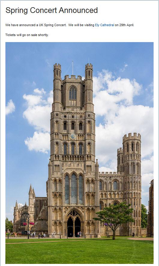 Concert à la cathédrale de Ely (UK) le samedi 29 avril 2017 591140AnnonceLibera