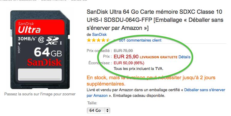 - Bon plan - carte Sandisk - 64 Go - class 10 - 25.90€ 601218Sandisk