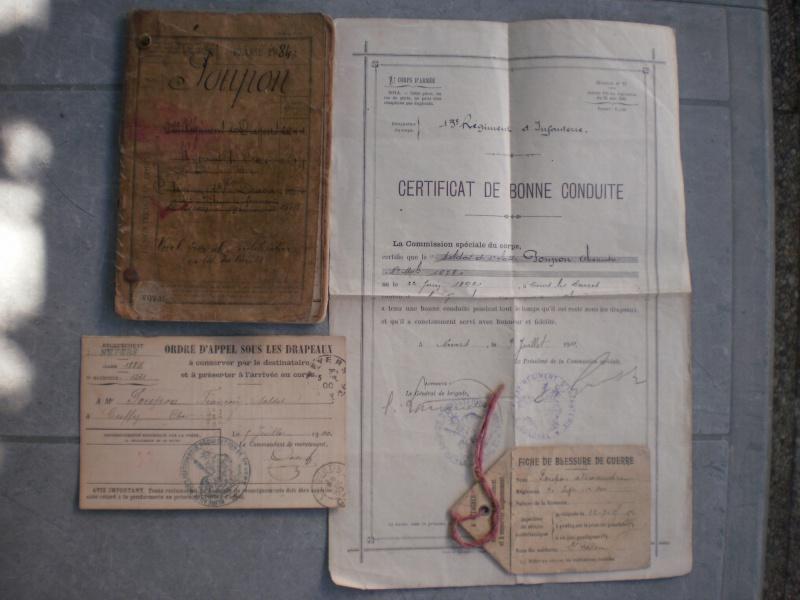 Lot Livret militaire + papiers + rare fiche blessure de guerre - ESC 5 Vendu 636808P1082507