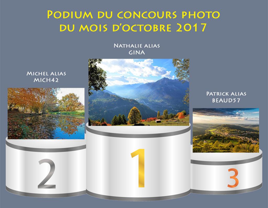 """Concours photo du mois d'octobre 2017 - Thème """"Couleurs d'automne"""" (terminé) 745694PodiumOctobre2017"""