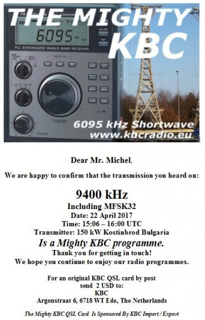 eQSL de KBC via Bulgarie 823144KBC