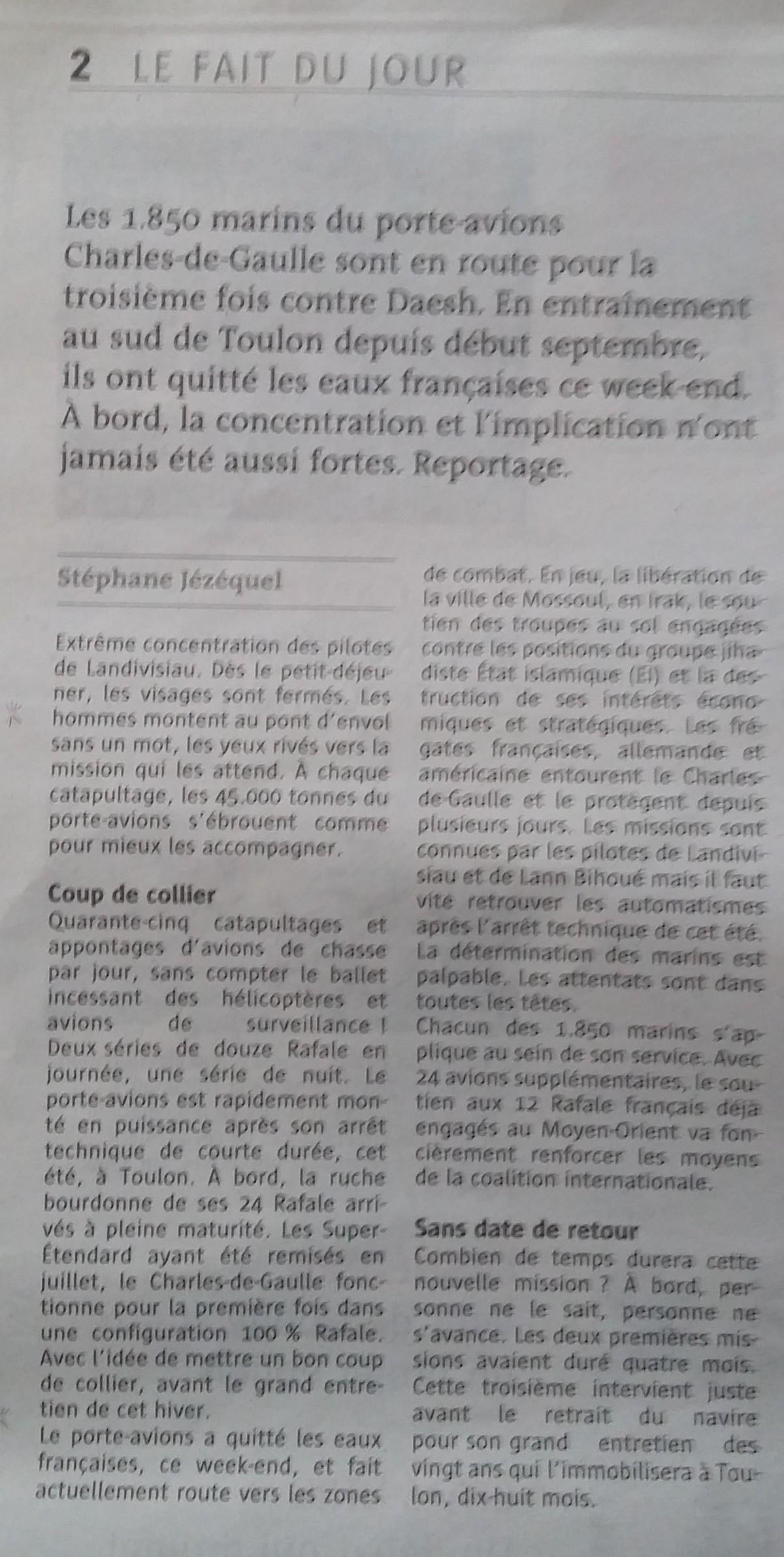 [ Porte-Avions Nucléaire ] Charles De Gaulle Tome 3 - Page 5 836171LeFaitdujour
