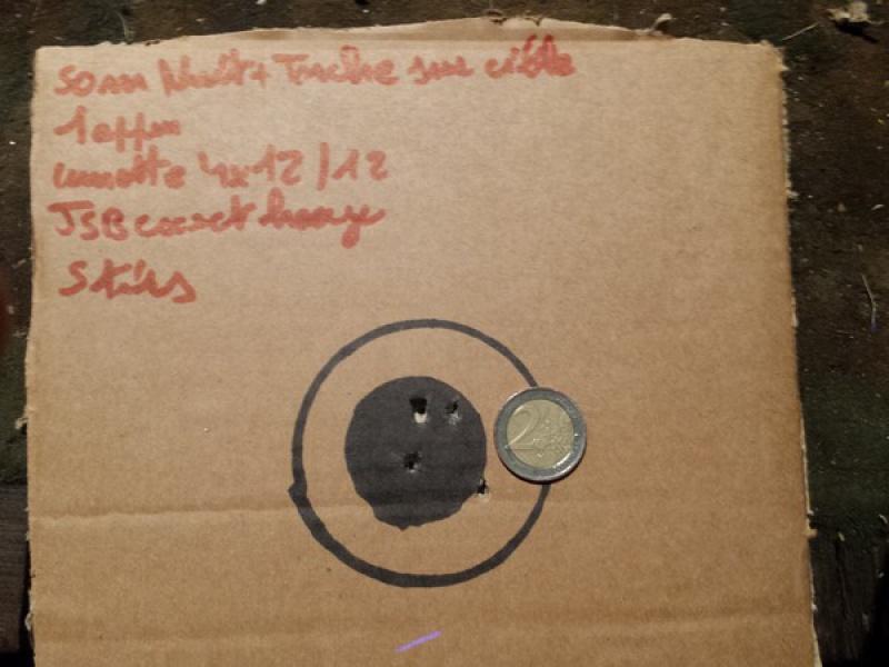 HW77 + lunette 4/12X40 sortie de carton et premiers cartons ! 10 à 50 m 85126120160729221242