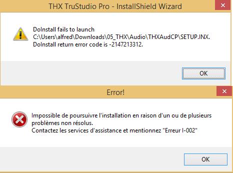 THX TruStudio driver et windows 8.1 pro 64 bit 852130bug