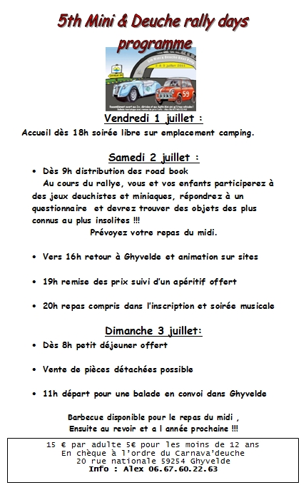 5 th Mini & deuche rally days 2 & 3 juillet 2011   989653programmedeucheofficielle