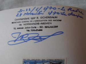 Normandie Niemen Plaquette avec autographe  Mini_113030PA060028