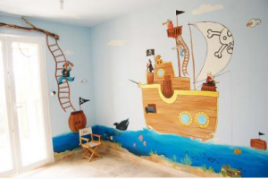 Chambre de mon fils - 4 ans - mer, baleine, dauphins... Mini_217594pirate