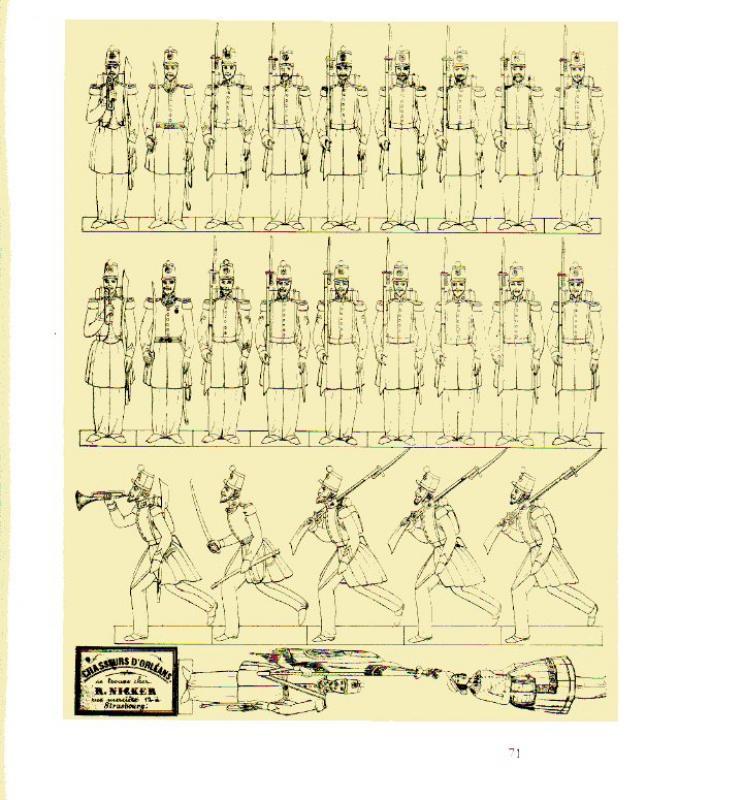 Chasseurs dans livre sur petit soldat en papier 437783ChassOrleansEdR.Nicker_PetitsSoldatsStrasbourg_