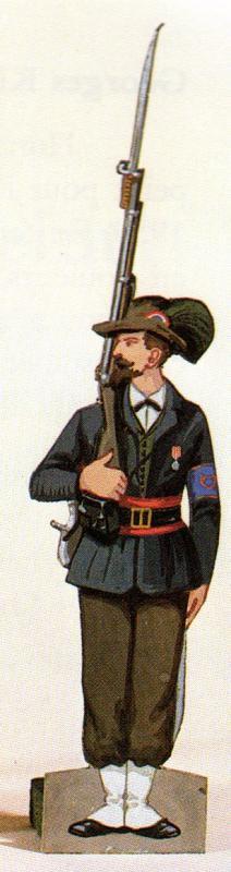 Chasseurs dans livre sur petit soldat en papier 65466ChasseurVolontairesiege1870Strasbourg