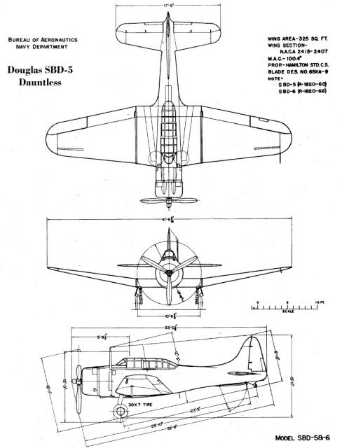 DOUGLAS DAUNTLESS 780389SBD_5_BuAer_3_view_drawing