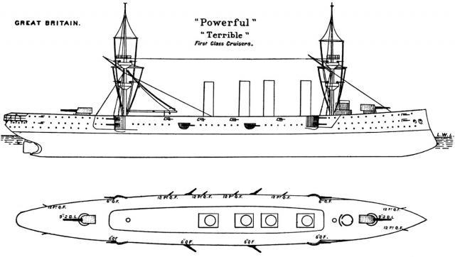 ROYAL NAVY CROISEUR DE DE BATAILLE HMS HOOD 657121Croiseurs_cuirasses_classe_Powerful