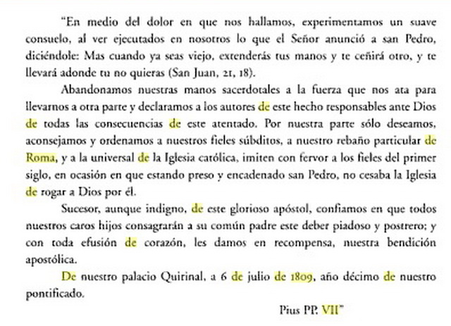Pio VII / San Pedro y San Pablo   (R.M. SXIX O31) Cartadedespedida