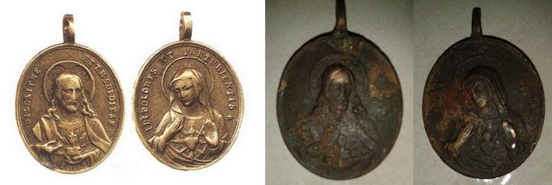 Medalla del Sagrado Corazón de Jesus / Sagrado Corazòn de María - s. XIX Sscorazones