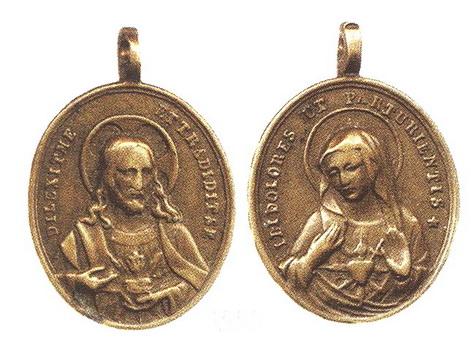Medalla del Sagrado Corazón de Jesus / Sagrado Corazòn de María - s. XIX Martini545