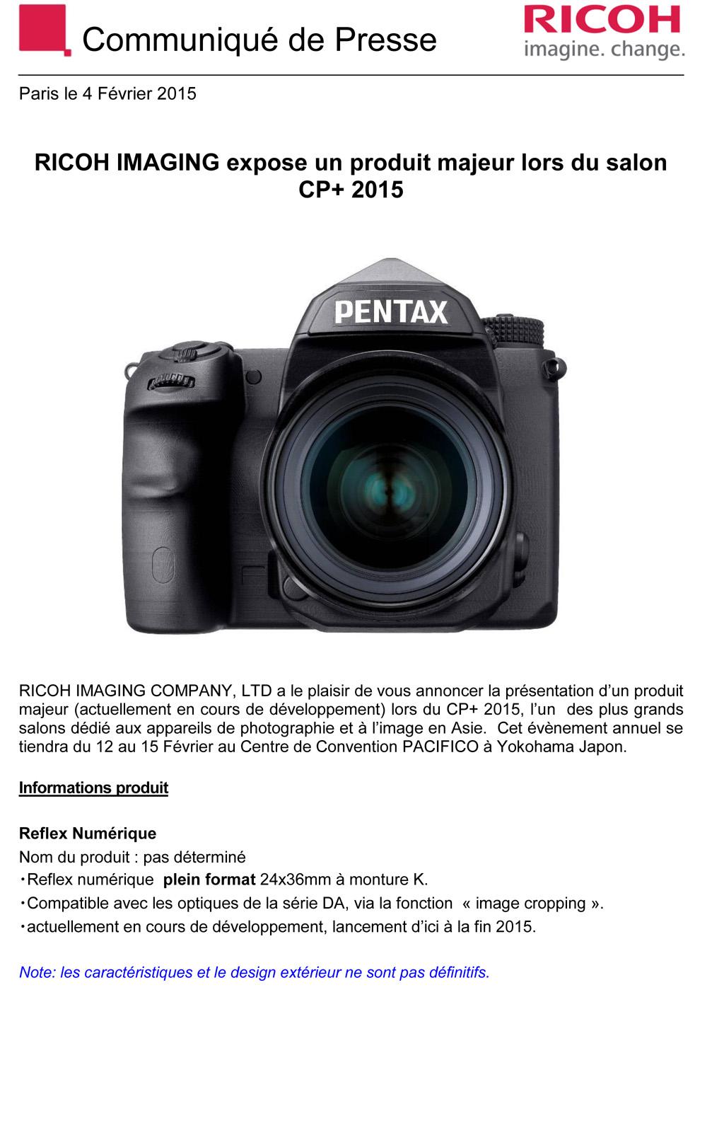 PENTAX RICOH IMAGING - Communiqué de Presse 04/02/2015 - Produit Majeur ... 7AQwtg