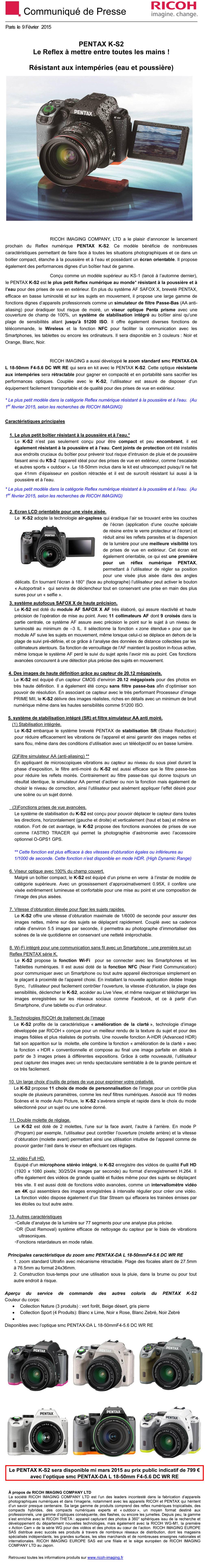 PENTAX RICOH IMAGING - Communiqué de Presse 09/02/2015 - PENTAX K-S2 GNsRUP