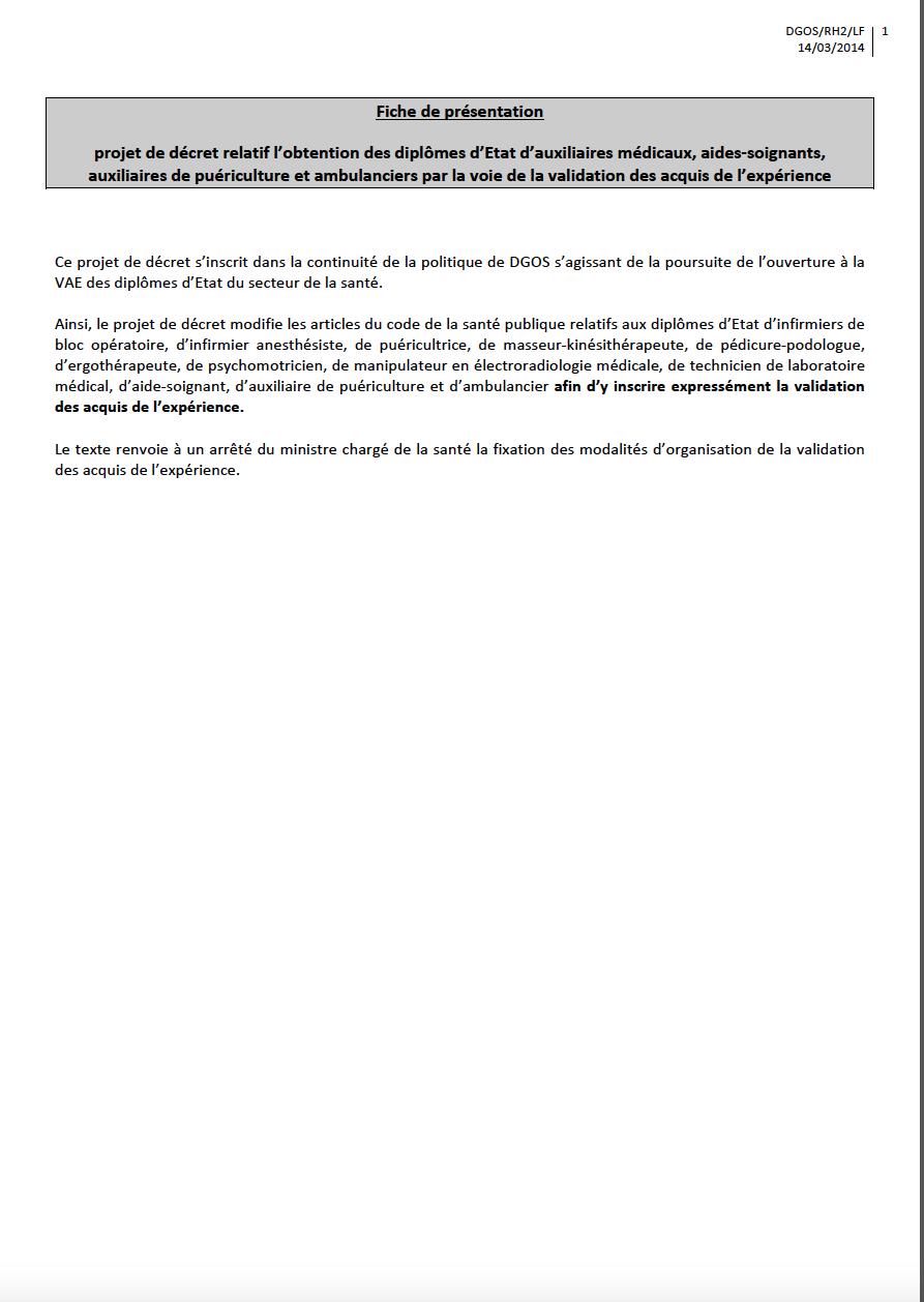 projet de décret relatif à l'obtention des diplômes d'Etat d'auxiliaires médicaux, aides-‐soignants, auxiliaires de puériculture et ambulanciers par la voie de la validation des acquis de l'expérience Go3Tlr
