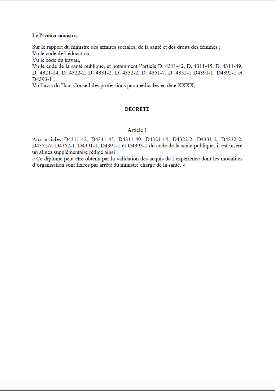 projet de décret relatif à l'obtention des diplômes d'Etat d'auxiliaires médicaux, aides-‐soignants, auxiliaires de puériculture et ambulanciers par la voie de la validation des acquis de l'expérience NsM307