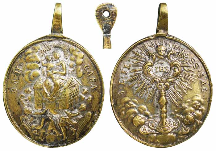Medalla Virgen de Loreto / Santísimo Sacramento - MR(339) (R.M. SXVIII-O198) Qzeb