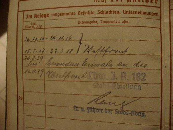 Traduction militarpass et wehrpass d'un suisse ayant combattu pour les allemands Dsc02074x