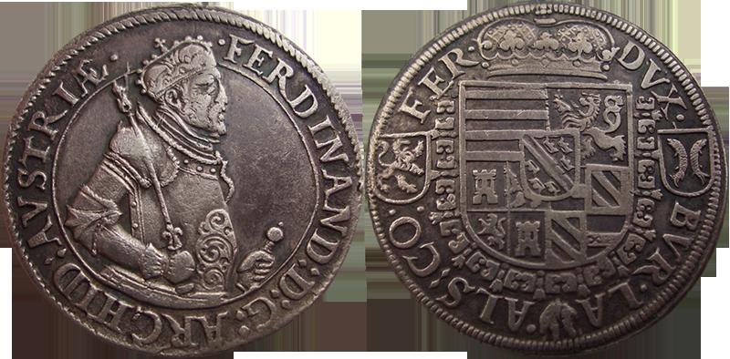10. Taler (60 Kreuzer) 1564-1595, à l'effigie et armorial de l'archiduc Ferdinand II, Ensisheim Gih1