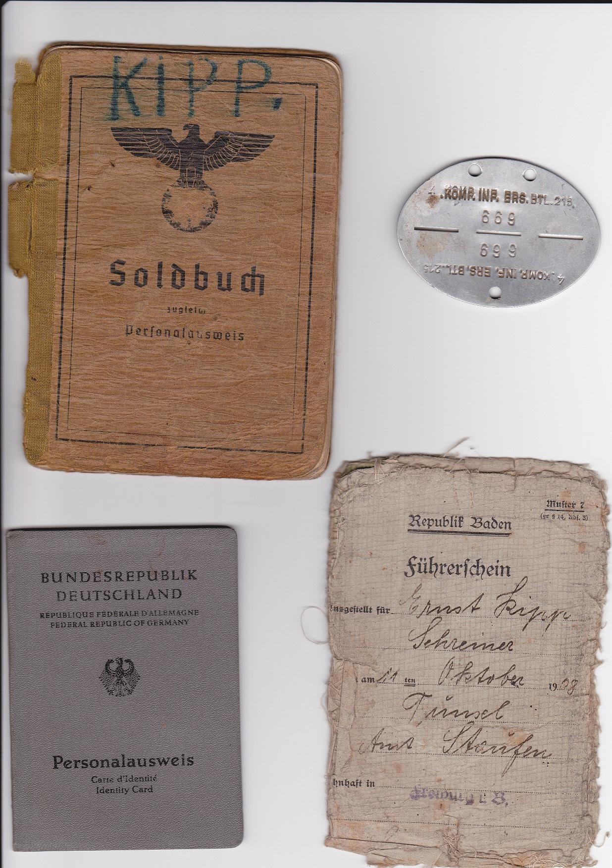 Carte Militaire Allemande Ww2.Solbuch Papier Plaque D Identitee D Un Soldat Allemand Ww2
