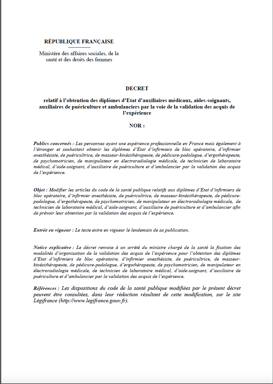 projet de décret relatif à l'obtention des diplômes d'Etat d'auxiliaires médicaux, aides-‐soignants, auxiliaires de puériculture et ambulanciers par la voie de la validation des acquis de l'expérience JSxfXd