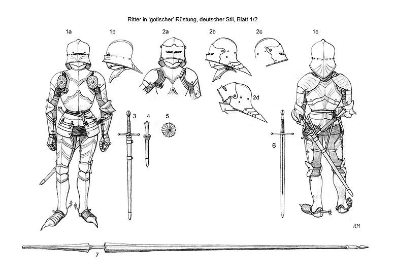 Armaduras y armas de los caballeros MobPNL