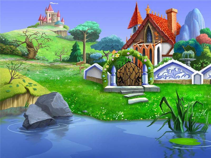 Paisaje con casita y estanque U9vnhD