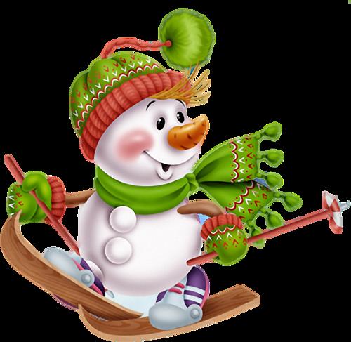 Muñeco de nieve y skis Utfkqx