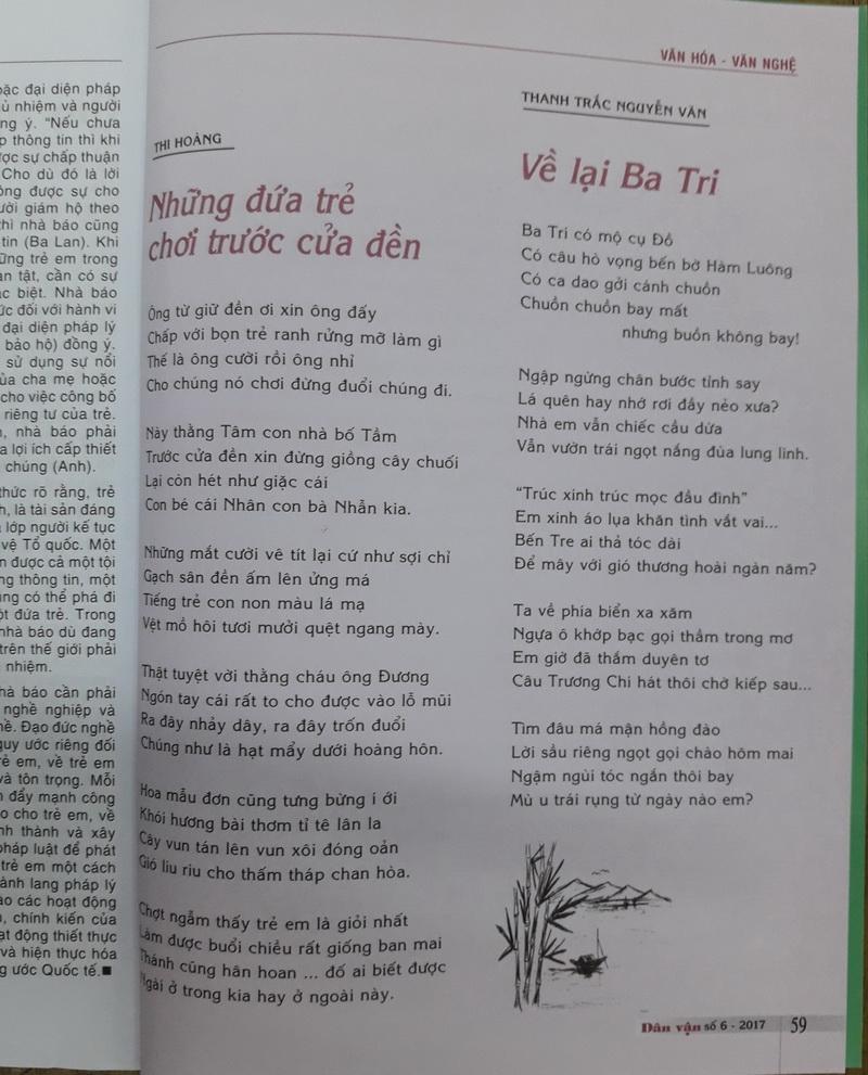 Thơ Thanh Trắc Nguyễn Văn trên sách báo Xkmzjk