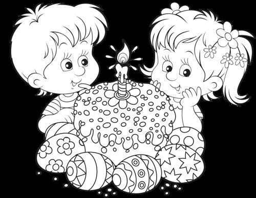 Niños y Pastel de Pascua UEVwEU