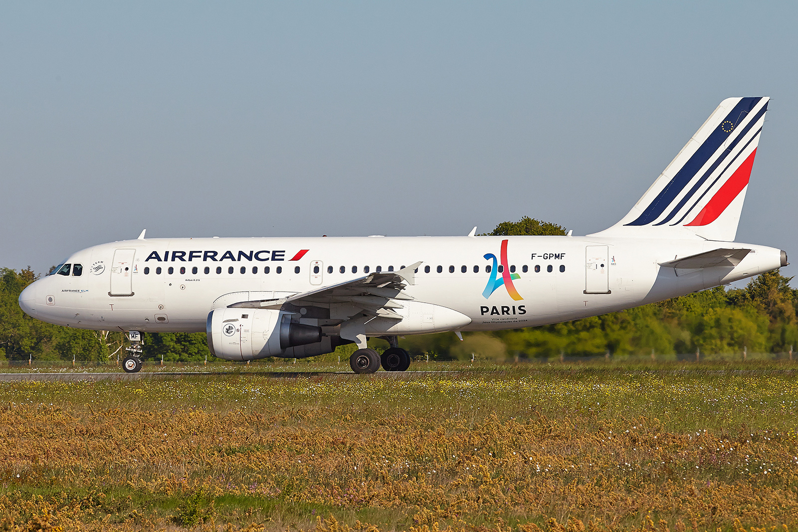 "[22/01/2017] Airbus A319 (F-GPMF) Air France Sticker ""Paris 2024"" DDp2BK"