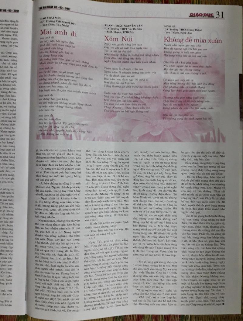 Thơ Thanh Trắc Nguyễn Văn trên sách báo YH0uhg