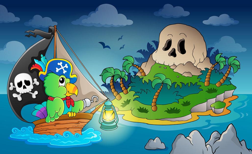 Paisaje Pirata y Loro ZBb8oj