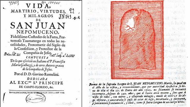 San Juan Nepomuceno / Reliquia Sagrada Lengua, S. XVIII Gkgg